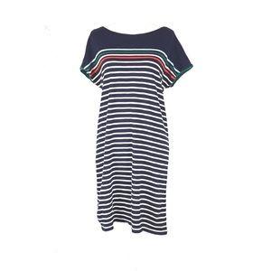 Boden Paulina Navy Striped Cotton Dress